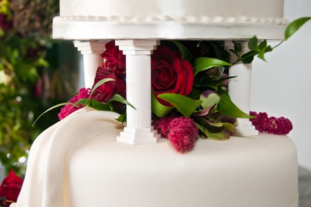 Tiers on Wedding Cake with flowers photo