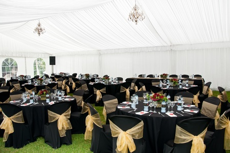 wedding table setting: Wedding Marquee in Black and gold theme