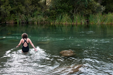Going for a swim in the river