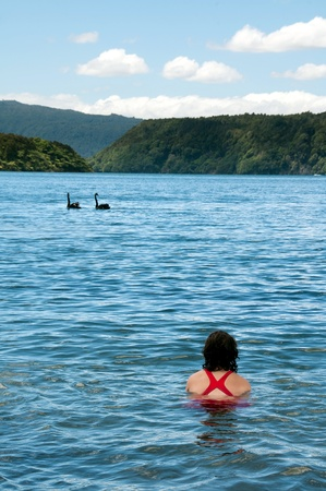 togs: Girl swimming with swans