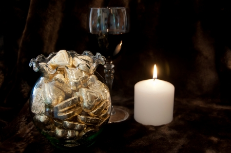 Chocolate wine and candle