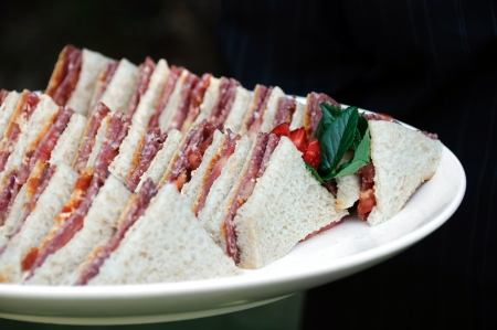 Triangle sandwiches with tomato and salami