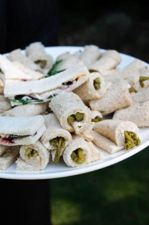 Asparagus rolls on a plate