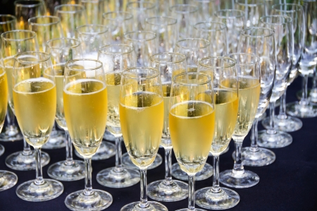 Champagne glasses ready for wedding toast Stock Photo