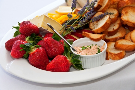 Strawberries and party food appetizers