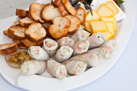 Spring rolls on a plate of appetizers