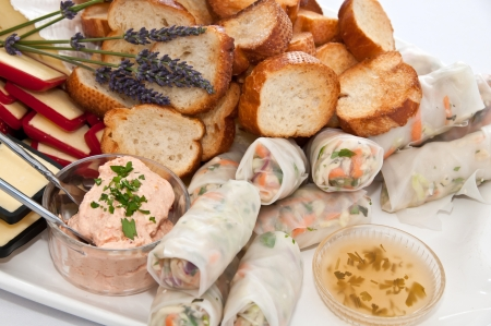 Plate of appetizers at a party
