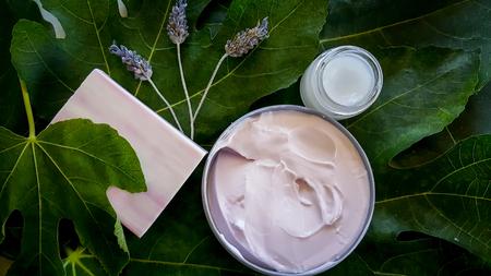 Lavender creams at a spa retreat with soap