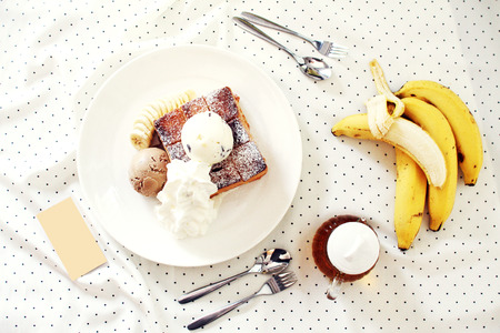 ice cream and toasted bread with banana photo