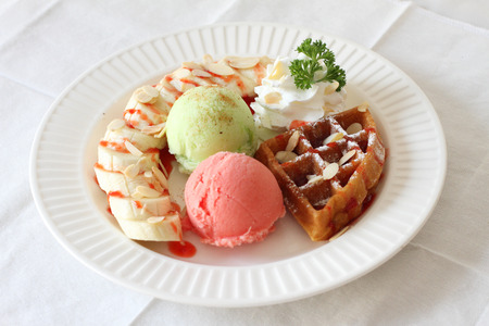 sherbet: sherbet ice cream with waffle