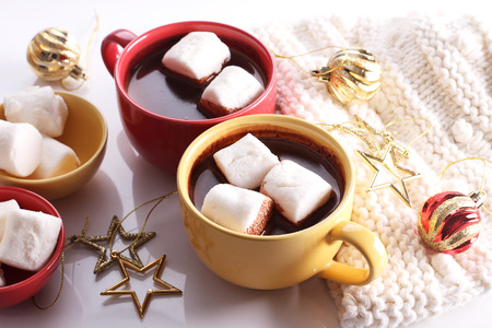 hot chocolate drink: hot chocolate drink with celebration decorations on white background