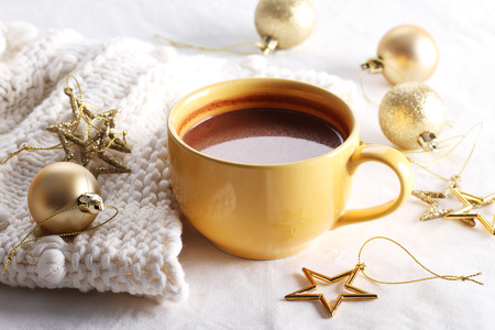 hot drink: hot chocolate drink with celebration decorations on white background