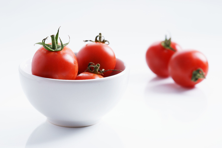 lycopene: Tomatoes. red ripe tomatoes on white background. Stock Photo