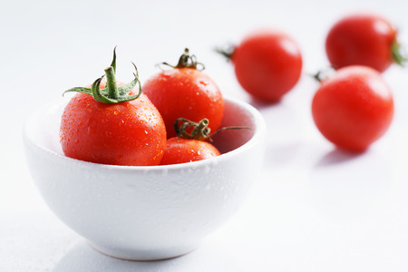 lycopene: Tomatoes. red ripe tomatoes on white background. Stock Photo