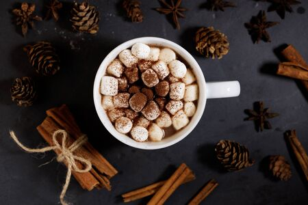 White ceramic cups of hot cocoa with marshmallows on top of rustic black background