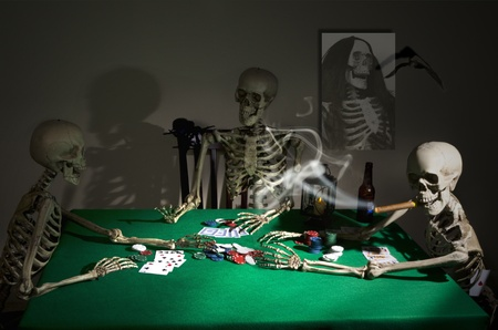 halloween spider: Midnight Poker Game Stock Photo