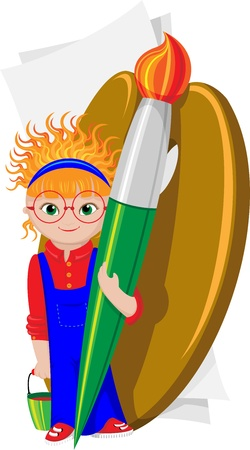 Cartoon girl with a brush, palette and paper Stock Vector - 13883744