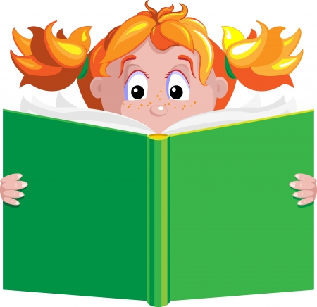 girl is reading a big book Stock Vector - 13883742