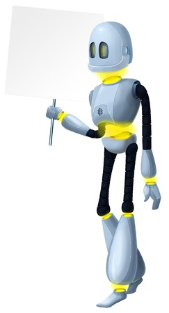 Robot with a banner on a white background