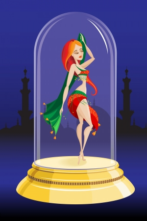 girl is dancing in a glass bowl Illustration