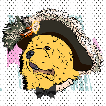 Сool portrait of dog in a Renaissance costume. Vector. Privileged person. Musketeers outfit.