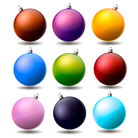 Collection of Christmas balls of different colors. Vector.