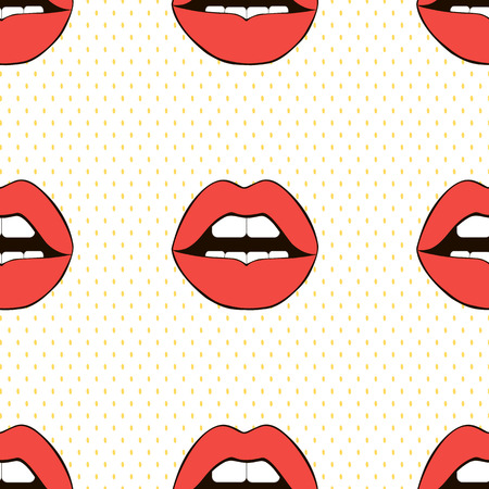 Seamless love vector pattern. Sexy background. Red lips.
