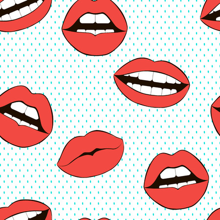 Seamless love vector pattern. Fashion background. Red lips. Smile symbol.