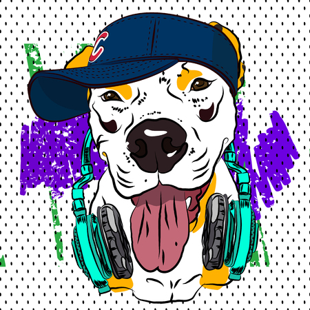 Cool print for T-shirt. Bulldog in the form of rapper. Vector. Illustration