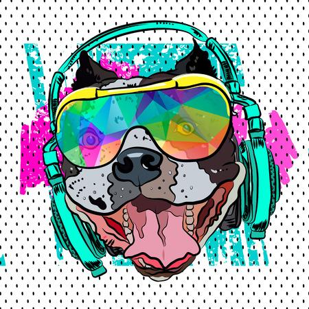 Pop art print. Steep Bulldog for print on a T-shirt. Vector. Ilustração