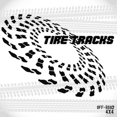 Tire track silhouette print. Logo design. Rubber for trucks. Vector illustration EPS10.