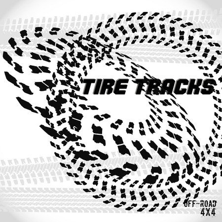 Tire track silhouette print. Off-road banner. Vector illustration EPS10.