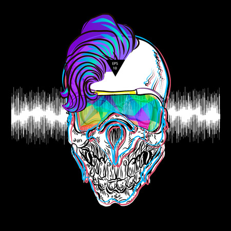 Psychedelic music print. Skull print for t-shirt. Vector illustration EPS10.