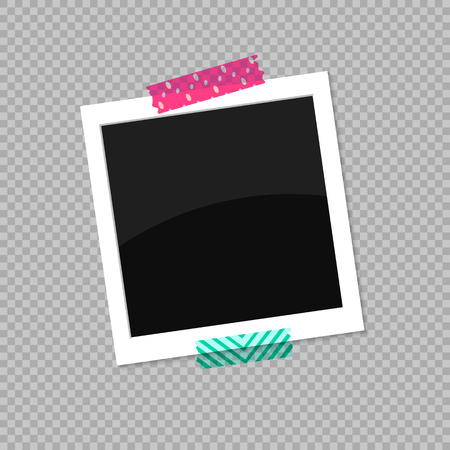 Square photo frame. Photo stuck on colored scotch tape. Vector illustration EPS 10.  イラスト・ベクター素材