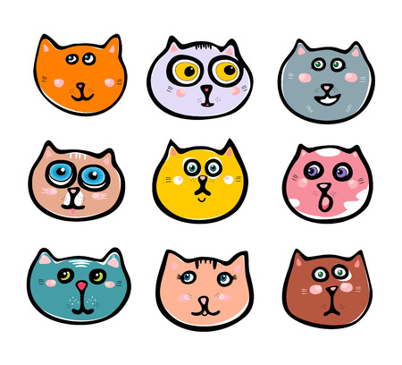 Cute cat illustration series. Kitten illustration series white background. Collection smiley cat.  Vector illustration EPS 10.