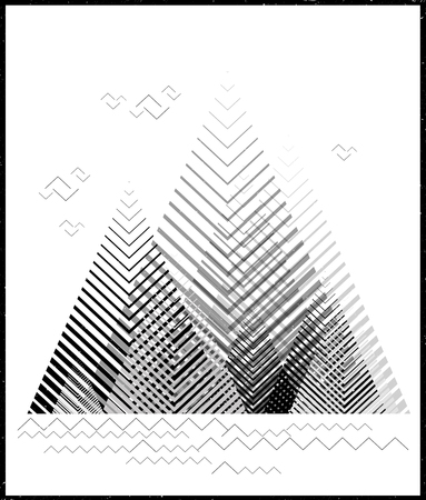 Vector geometric triangle background, abstract mountains.Conceptual background, with mountains.Flat design, with minimal elements.Use for card, poster, brochure,banner. Interior print.Sea and clouds.