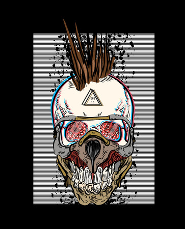 Cool skull punk print for t-shirt. Punk rock music. Steampunk style. Poster for a concert.  Vector illustration EPS10.