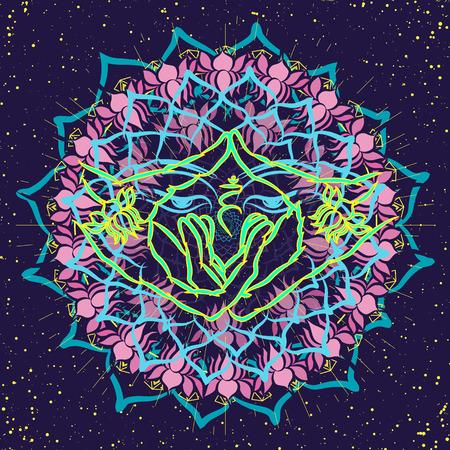 Hands folded in meditation. A meditative picture on a T-shirt. Buddhism. Vector illustration EPS10. Illustration