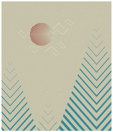 Vector geometric triangle background, abstract mountains.Conceptual background, with mountains.Flat design, with minimal elements.Use for card, poster, brochure,banner. Minimalist Interior print. Ilustração