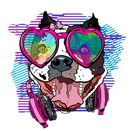 Cool bulldog girl with headphones and glasses. Print for your t-shirt. Vector illustration eps 10.