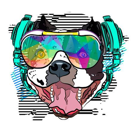 Happy Bulldog Party-goer. Vector illustration EPS 10.
