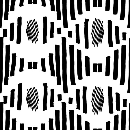 Black and white repeat ornament. Hand drawing tribal seamless pattern. Aztec textile. Vector illustration eps 10. 向量圖像