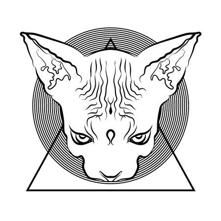 Black and white graphics, tattoo. Egyptian cat with geometric elements. Fashionable symbols.  イラスト・ベクター素材