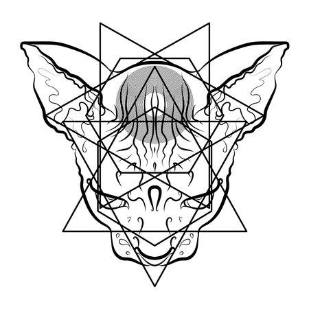 Mystical print. Black and white graphics, tattoo, print, symbol. Cool vector cat.