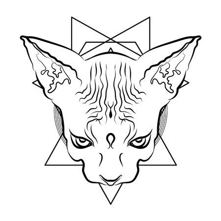 Vector illustration. Egyptian cat head with geometric symbols. Mystic Totem. Illustration