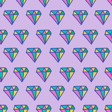 Colored seamless pattern with bright diamonds. Color trendy cartoon print.