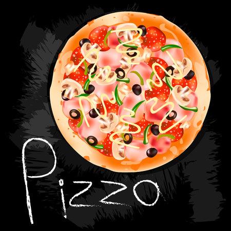 Fresh pizza. Isolated black background. EPS10 vector illustration.  イラスト・ベクター素材