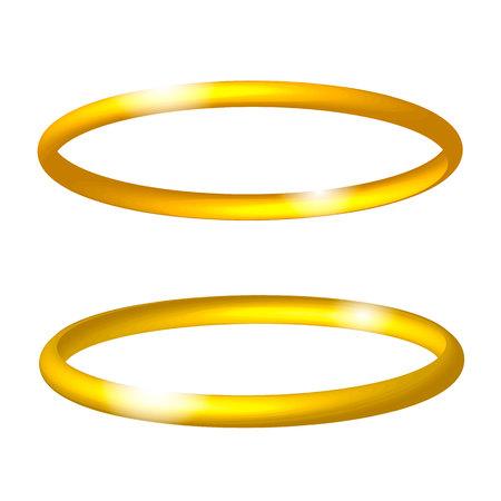 Gold realistic angel ring. Vector illustration. Иллюстрация