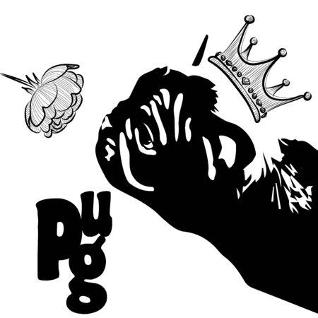 Pug Prince sniffing a flower. Black and white graphics, kitsch. Vector illustration. Ilustração