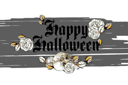 Banner with a skull and dry roses and an inscription for Halloween events. Ilustração